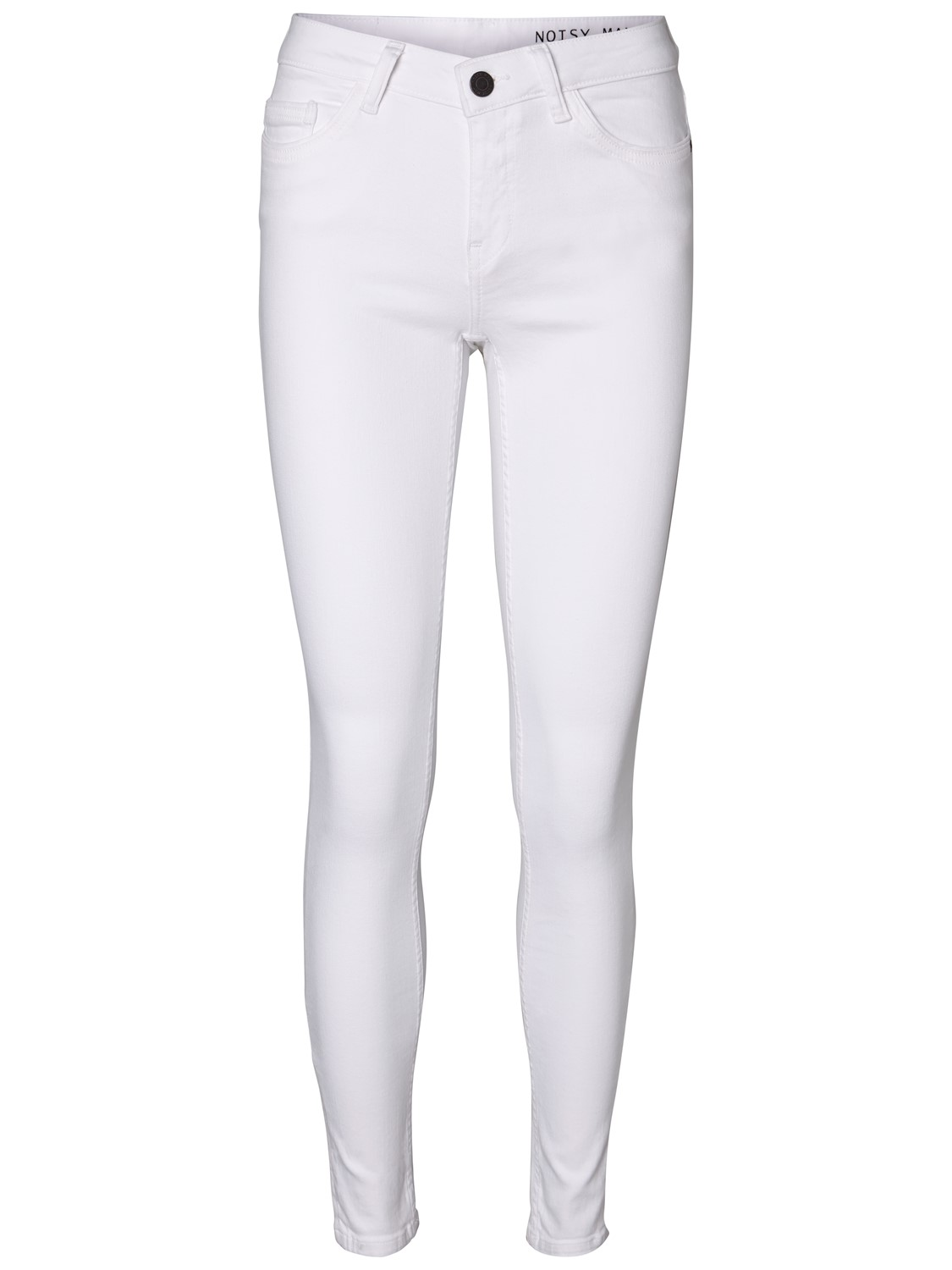 Noisy May Damen Jeans NMEVE LW PCKT PIPING WHITE JEANS Slim Fit Weiß Bright White