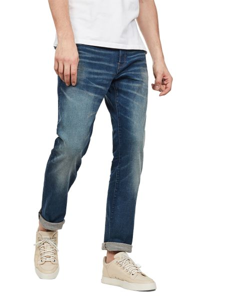G Star Herren Jeans 3301 Straight Fit Blau Worker Blue Faded