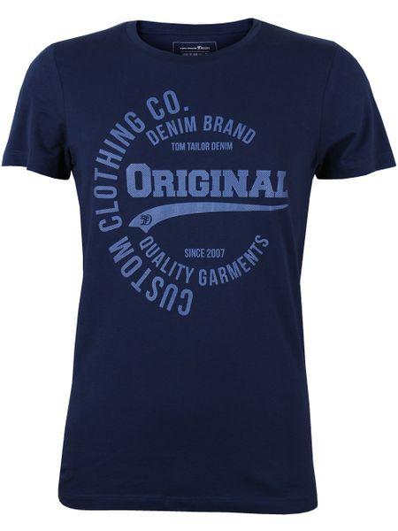 Details zu Tom Tailor Denim Herren Rundhals T Shirt 100% Baumwolle mit Frontprint S XXL