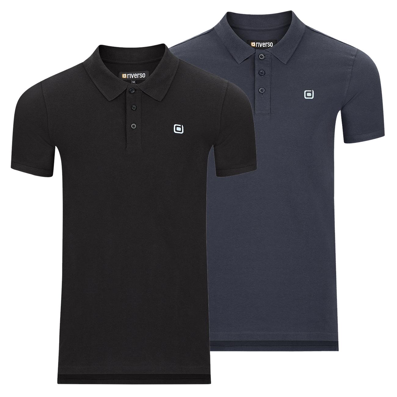 miniatura 9 - riverso Herren Poloshirt RIVJohn Basic 2er Pack Shirt Regular Polo Kragen Uni