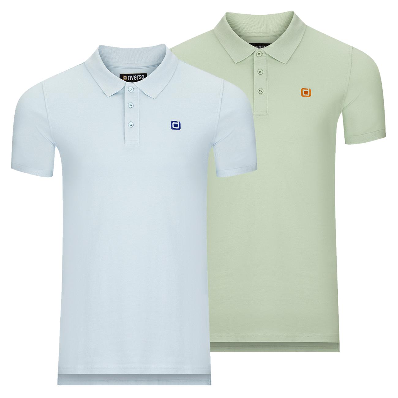 miniatura 10 - riverso Herren Poloshirt RIVJohn Basic 2er Pack Shirt Regular Polo Kragen Uni