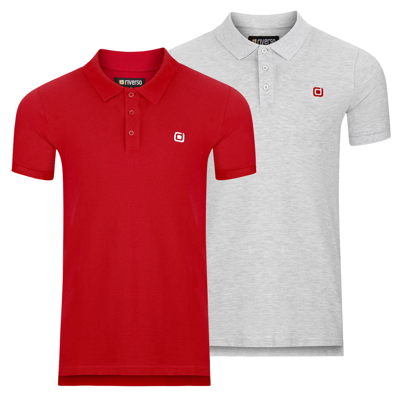 miniatura 11 - riverso Herren Poloshirt RIVJohn Basic 2er Pack Shirt Regular Polo Kragen Uni