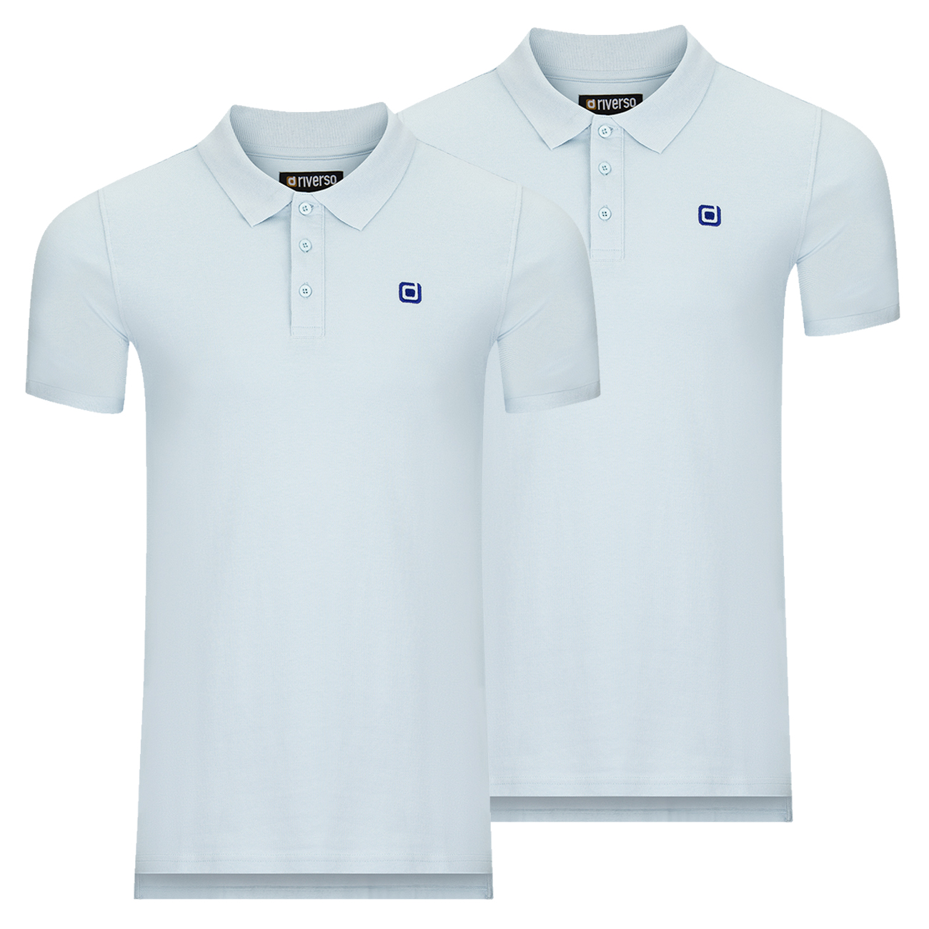 miniatura 4 - riverso Herren Poloshirt RIVJohn Basic 2er Pack Shirt Regular Polo Kragen Uni