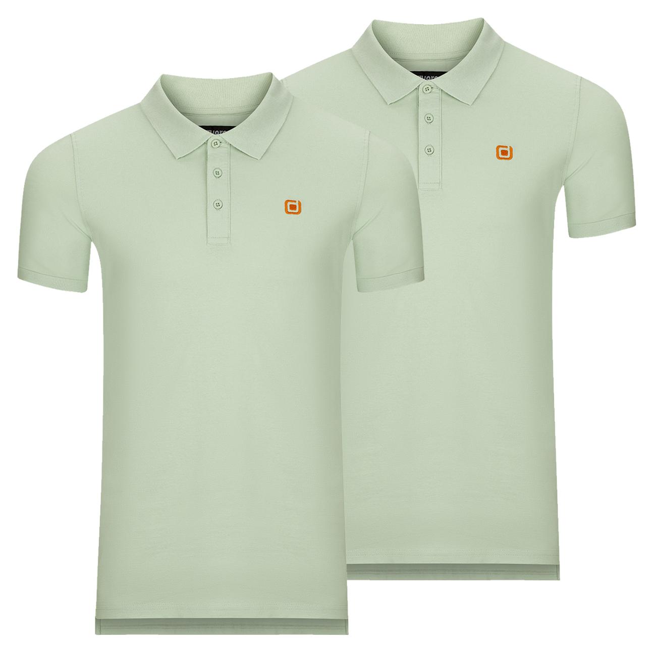 miniatura 5 - riverso Herren Poloshirt RIVJohn Basic 2er Pack Shirt Regular Polo Kragen Uni