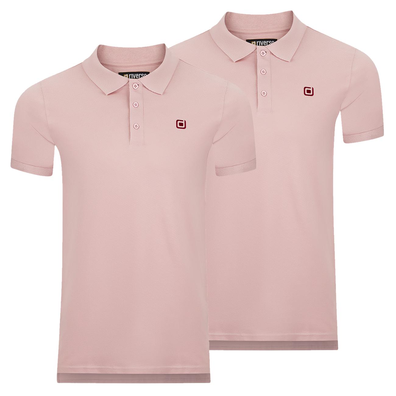 miniatura 7 - riverso Herren Poloshirt RIVJohn Basic 2er Pack Shirt Regular Polo Kragen Uni