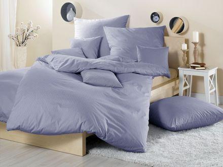 Lorena Textil Mako Batist Bettwäsche Basel kleinkariert blau Vichy – Bild 1