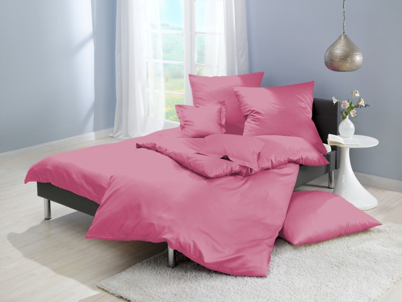 lorena mako satin bettw sche uni rosa pink farbe 641 bettw sche uni bettw sche. Black Bedroom Furniture Sets. Home Design Ideas