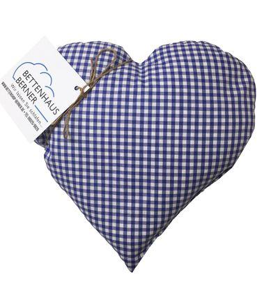 Zirbenholzkissen Herz 30x30 cm blau kariert – Bild 2
