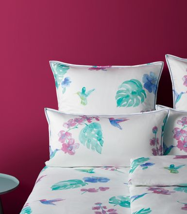 Covered bed linen Mako Satin Bettwäsche Flower Bird Magenta