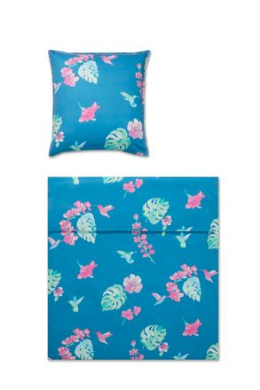 Covered bed linen Mako Satin Bettwäsche Flower Bird Aqua