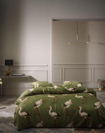 Essenza Mako Satin Bettwäsche Stefanie Duvet Cover grün Storche – Bild 2