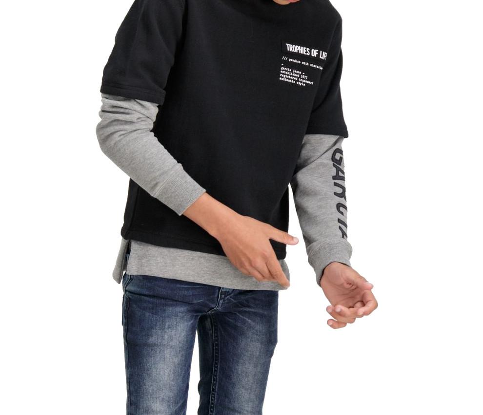 Garcia Jungen Kapuzen-Sweater Doppeloptik in raw black angeraut – Bild 2