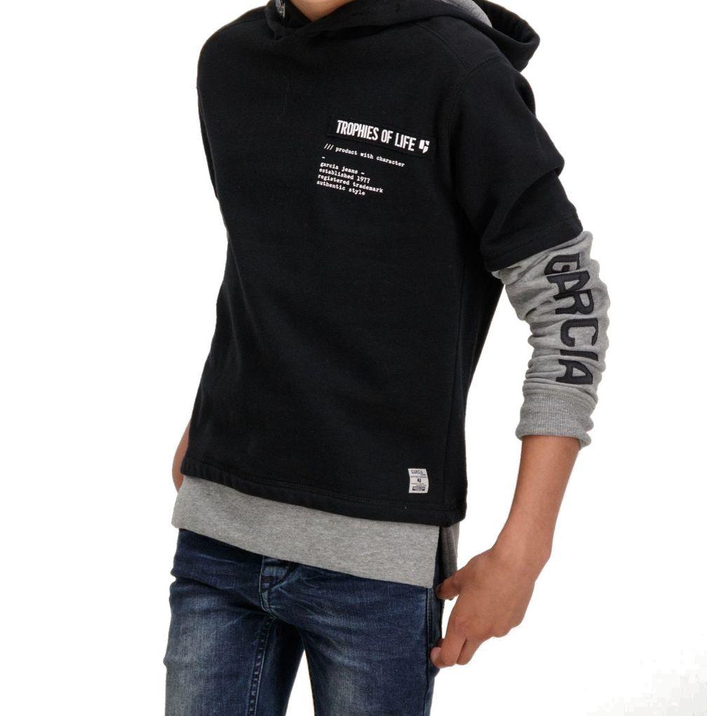 Garcia Jungen Kapuzen-Sweater Doppeloptik in raw black angeraut – Bild 4