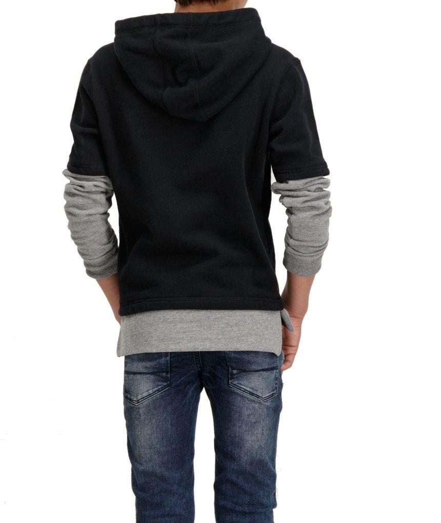 Garcia Jungen Kapuzen-Sweater Doppeloptik in raw black angeraut – Bild 5