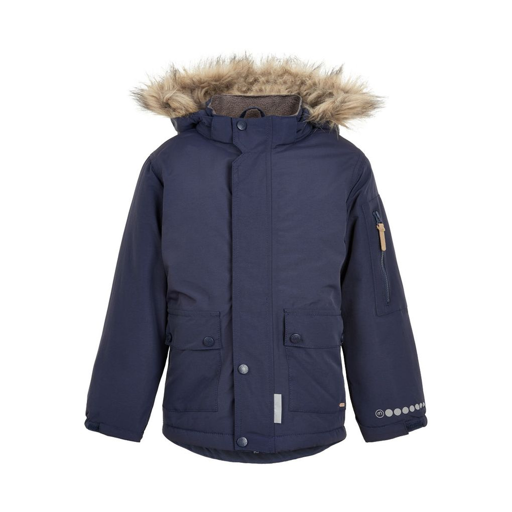 Minymo Jungen Winterjacke mit Fellrandkapuze Funktionsjacke 8000 mm blue nights