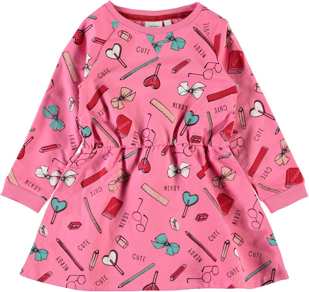 Name it Mädchen Sweat-Kleid langarm NMFNASCOOL bubblegum