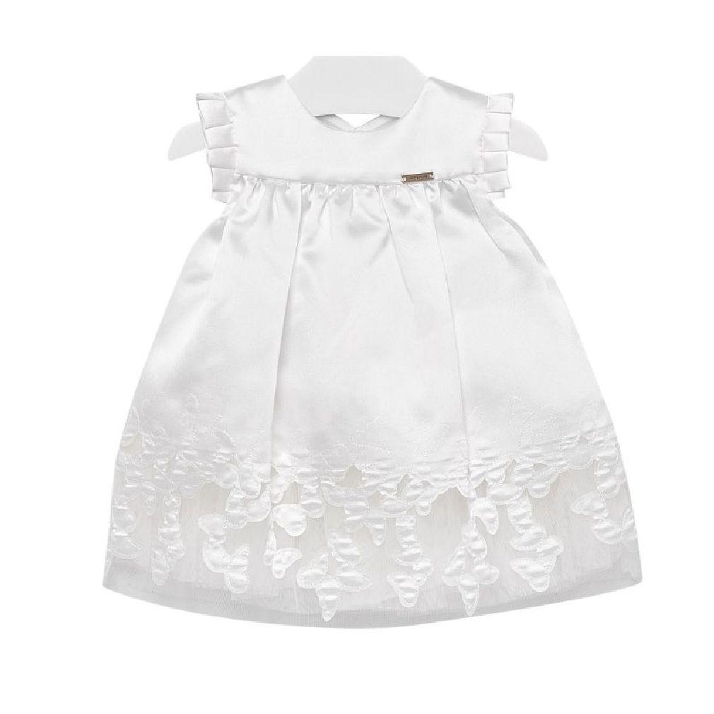 Mayoral Baby Mädchen Taufkleid Festkleid kurzarm bestickt weiß – Bild 1
