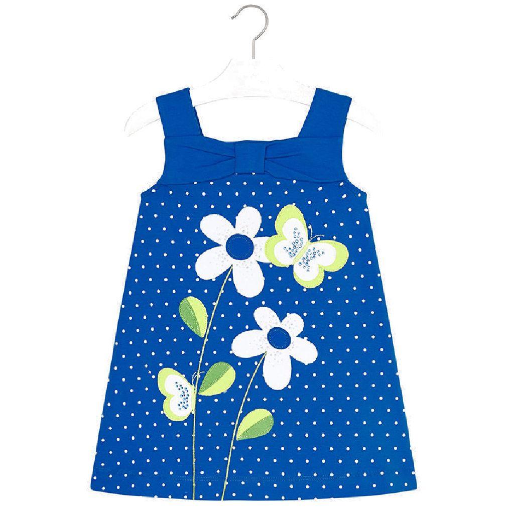 Mayoral Mädchen Sommer-Kleid mit Blumen & Glitzersteinchen blau – Bild 1