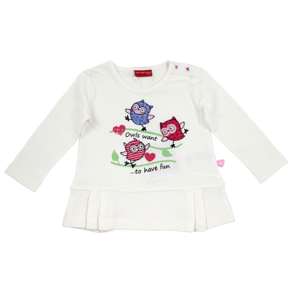 Salt and Pepper Baby Longsleeve Eule smart owl fun – Bild 1