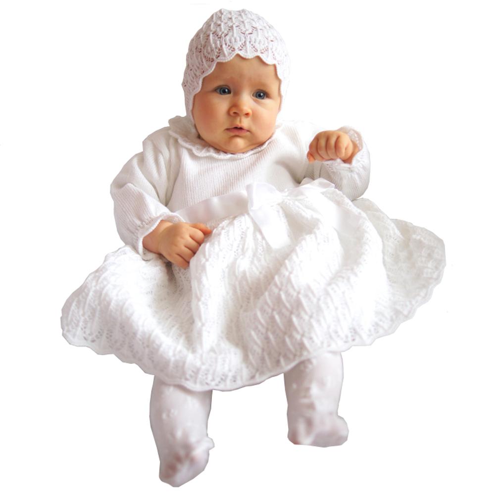 Eko Taufkleid für Mädchen Set Mütze und Strickkleid weiß – Bild 1