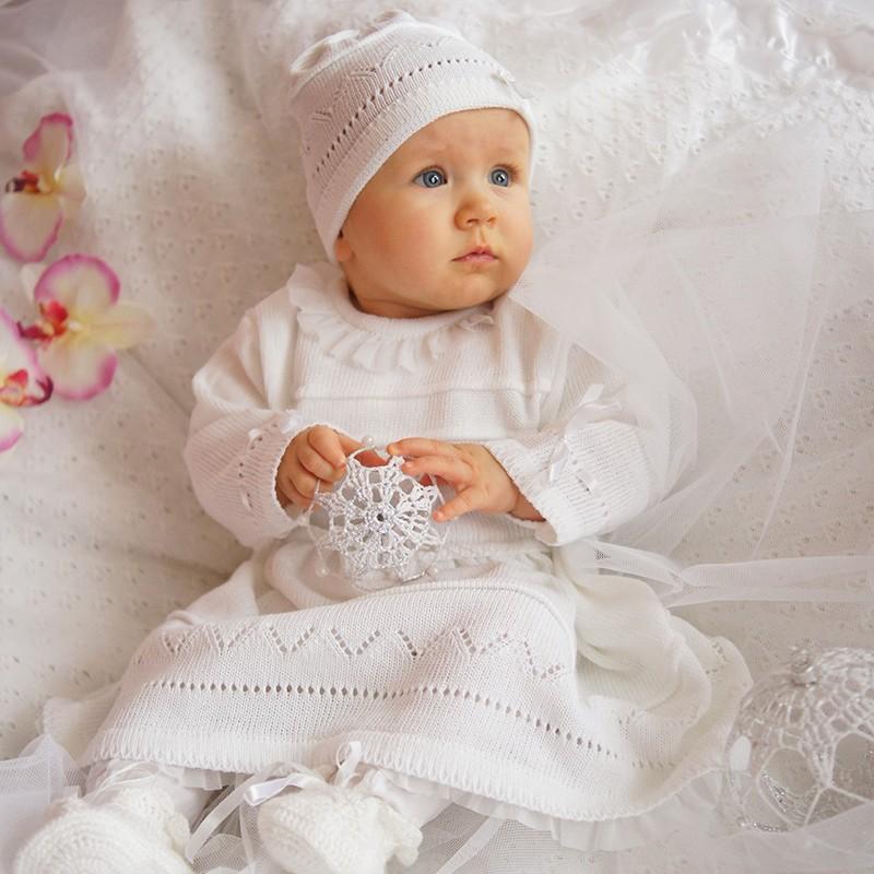 beste Auswahl an USA billig verkaufen authentisch Eko Baby Taufkleid für Mädchen Strick-Set Mütze und Kleid weiß