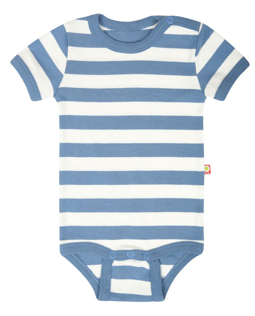 Katvig Baby Body kurzarm in blau gestreift aus Bio-Baumwolle