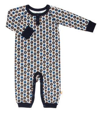 Katvig Baby Strampler Overall aus Bio-Baumwolle Apfeldruck dunkelblau 001