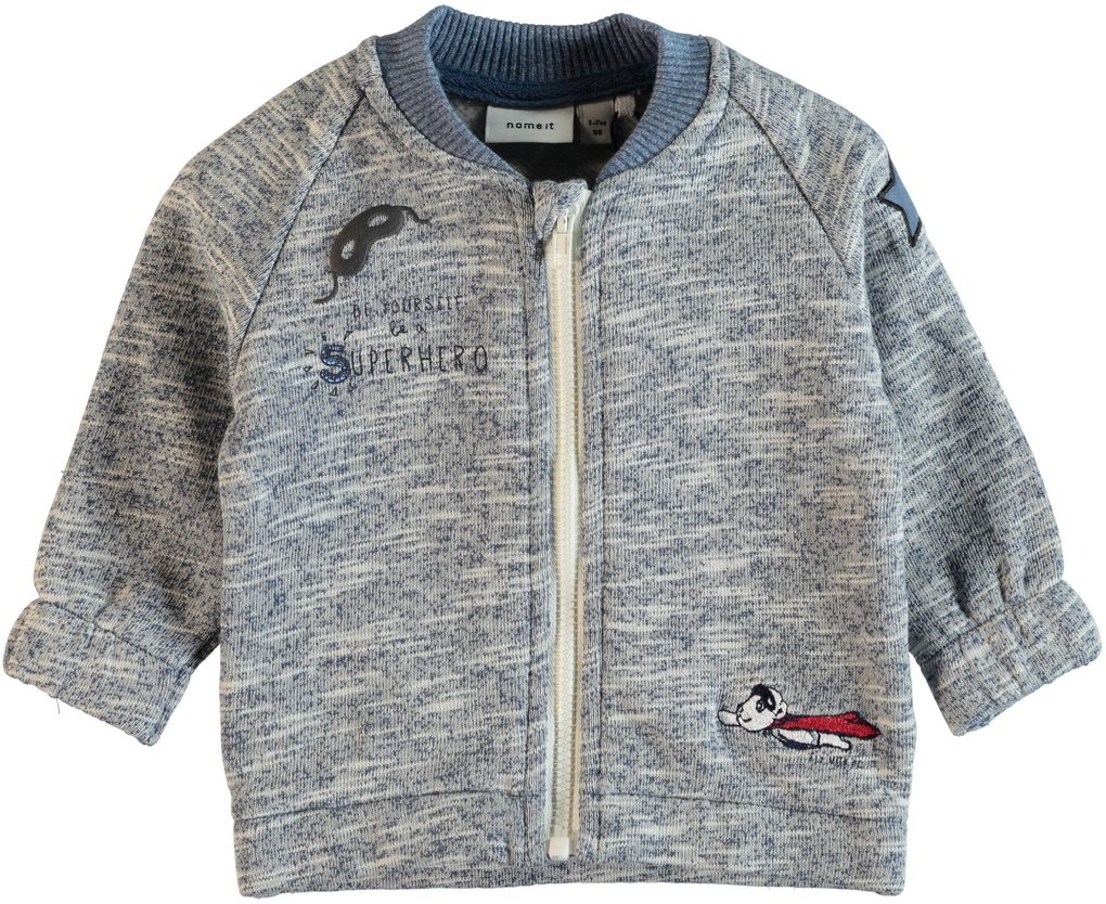 Name it Baby Jungen Sweatjacke Cardigan Nitgeorge blau meliert mit Patches