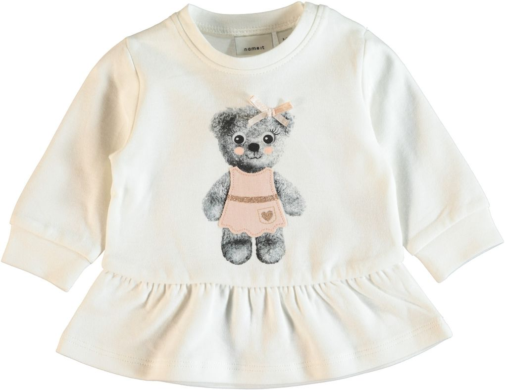 Name it Baby Sweat-Tunika Bärchen in snow white Nitgebanina