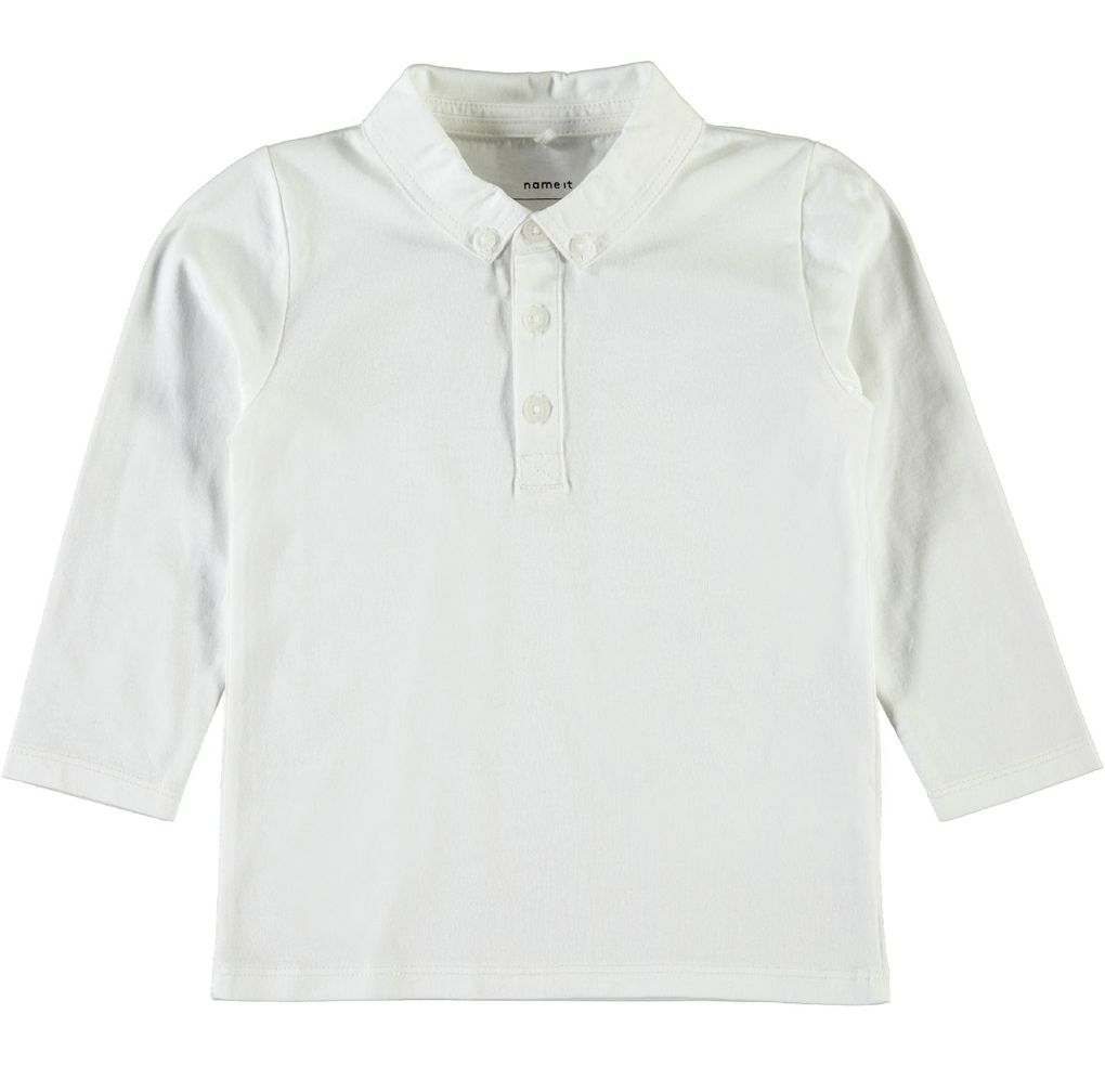 Name it Jungen Poloshirt langarm in weiß Nitetson mini