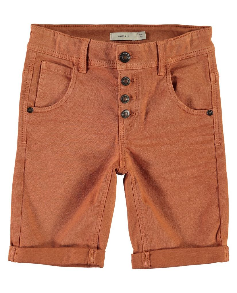 Name it Jungen Twill-Bermuda Long Shorts slim NKMSofus braun – Bild 1