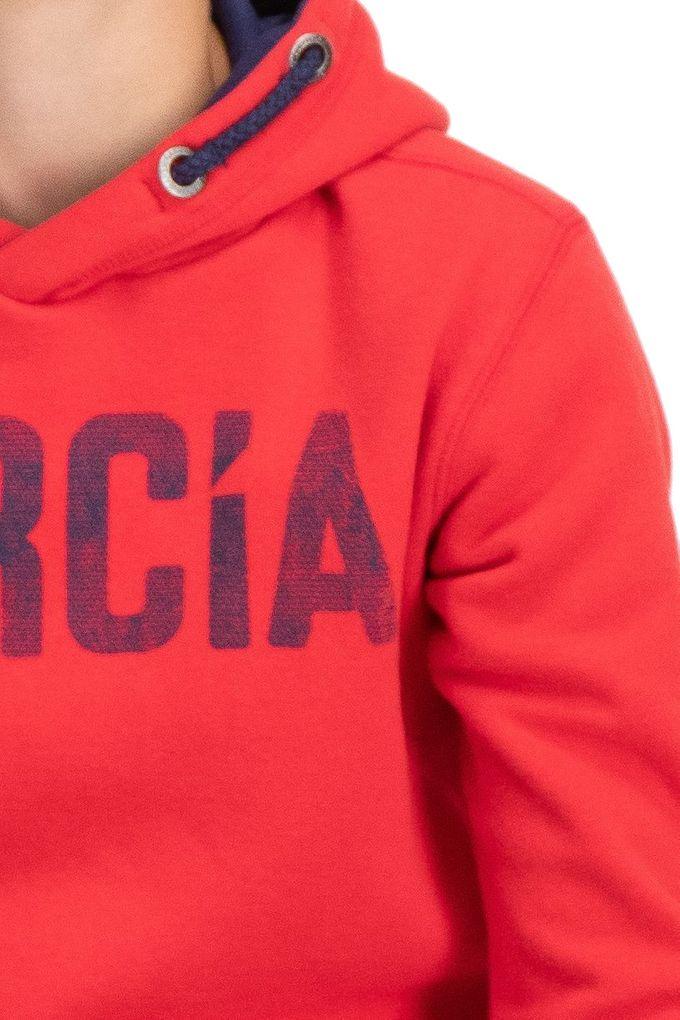 Garcia Jungen Hoodie Kapuzen-Sweatshirt angeraut in rot – Bild 3