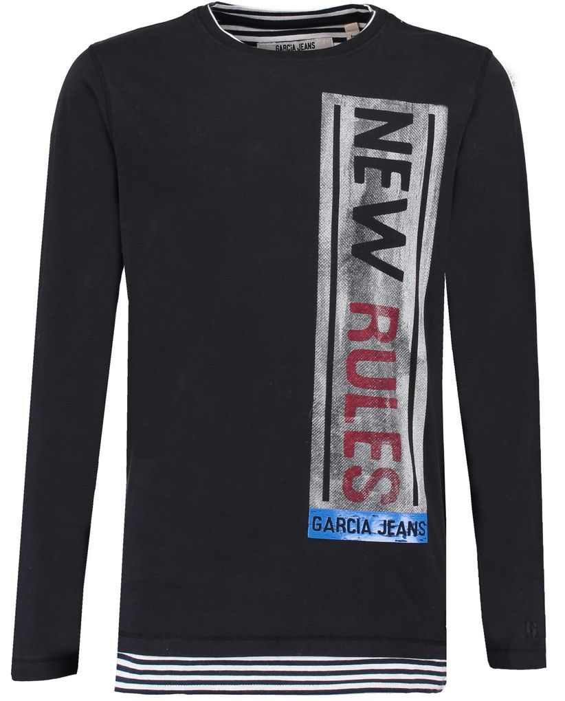 Garcia Jungen Longsleeve slim fit Doppeloptik in raw black – Bild 1