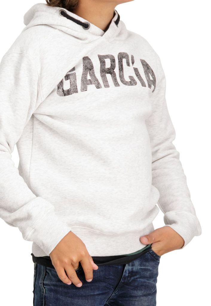Garcia Jungen Kapuzen-Sweatshirt Hoodie in white melee – Bild 3