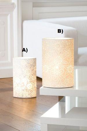 "Gilde Porzellan-Lampe ""Prickel Blume, Oval"""