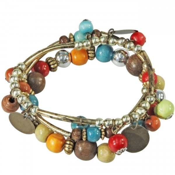 Drei bunte Perlenarmbänder im Zigeuner Boho Look
