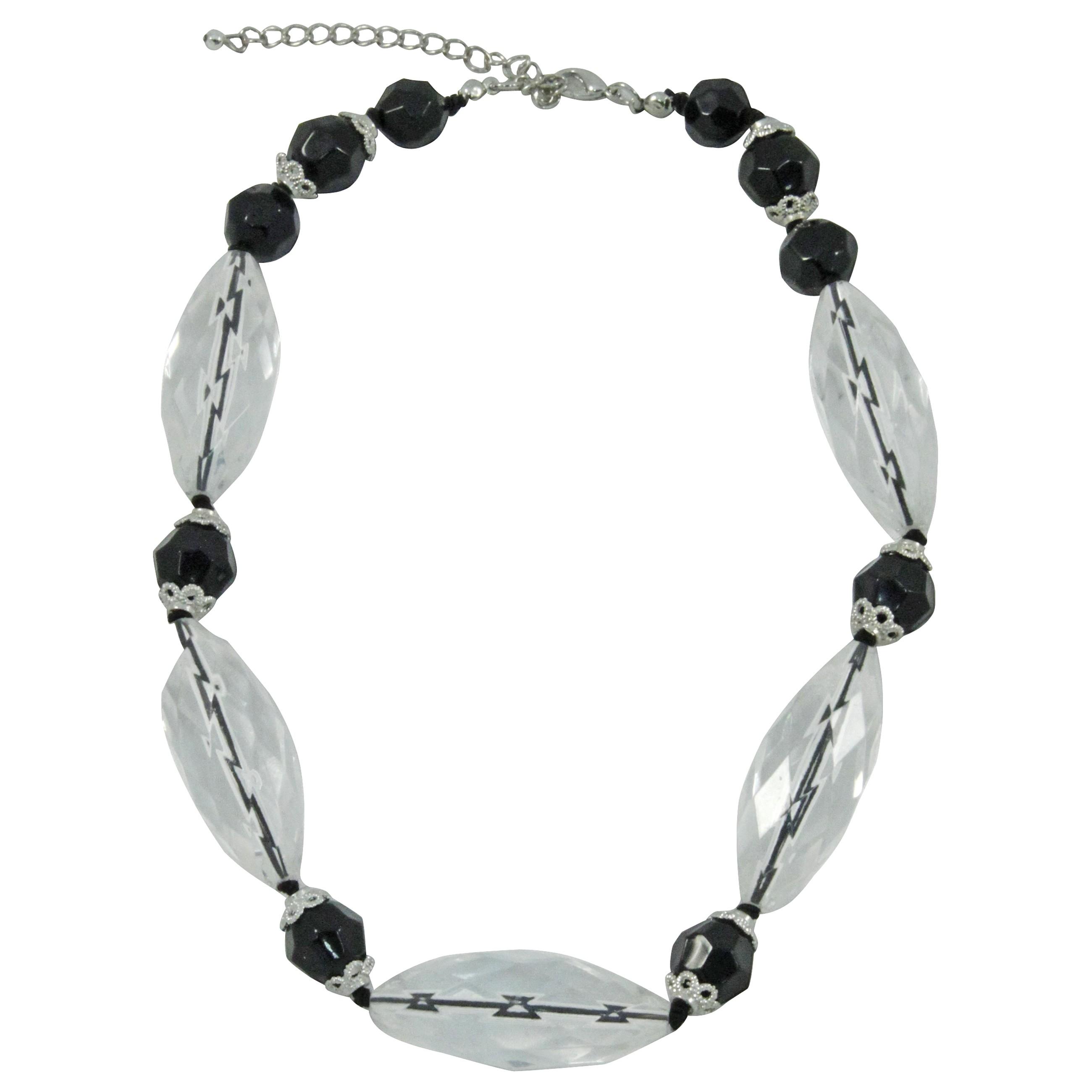 Kurze Damen Halskette mit ovalen und runden Polyacrylperlen