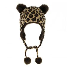 Fleece Mütze mit Fellohren im Leopardenmuster