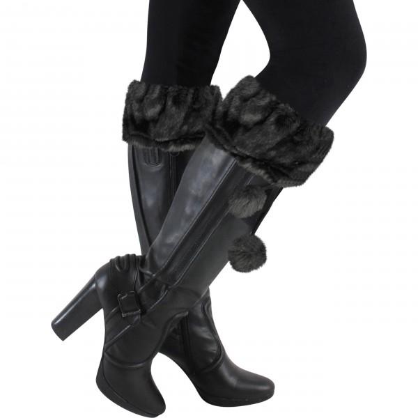 warme Stiefelstulpen mit Fellimitat in schwarz