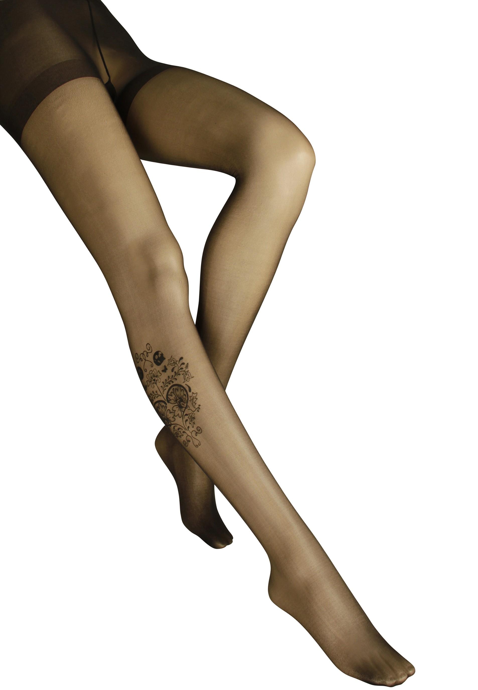 Trendy Strumpfhose mit Tattoo Druck