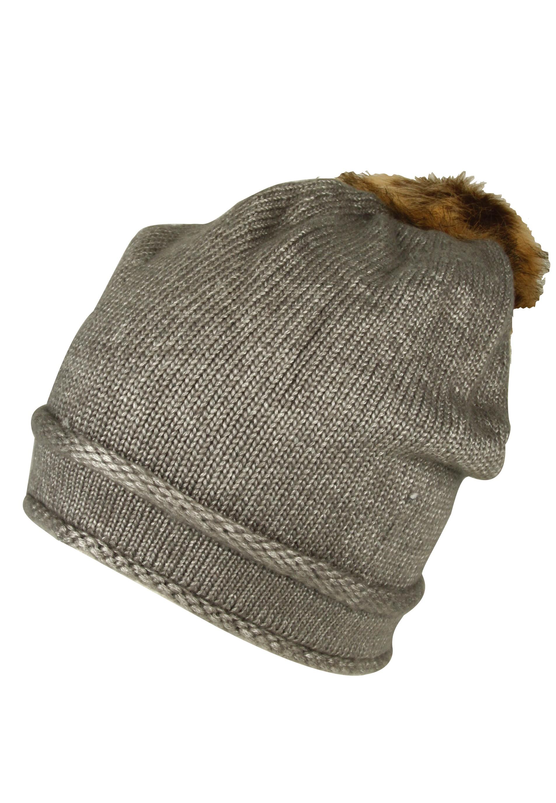 Beanie Mütze mit Fellbommel