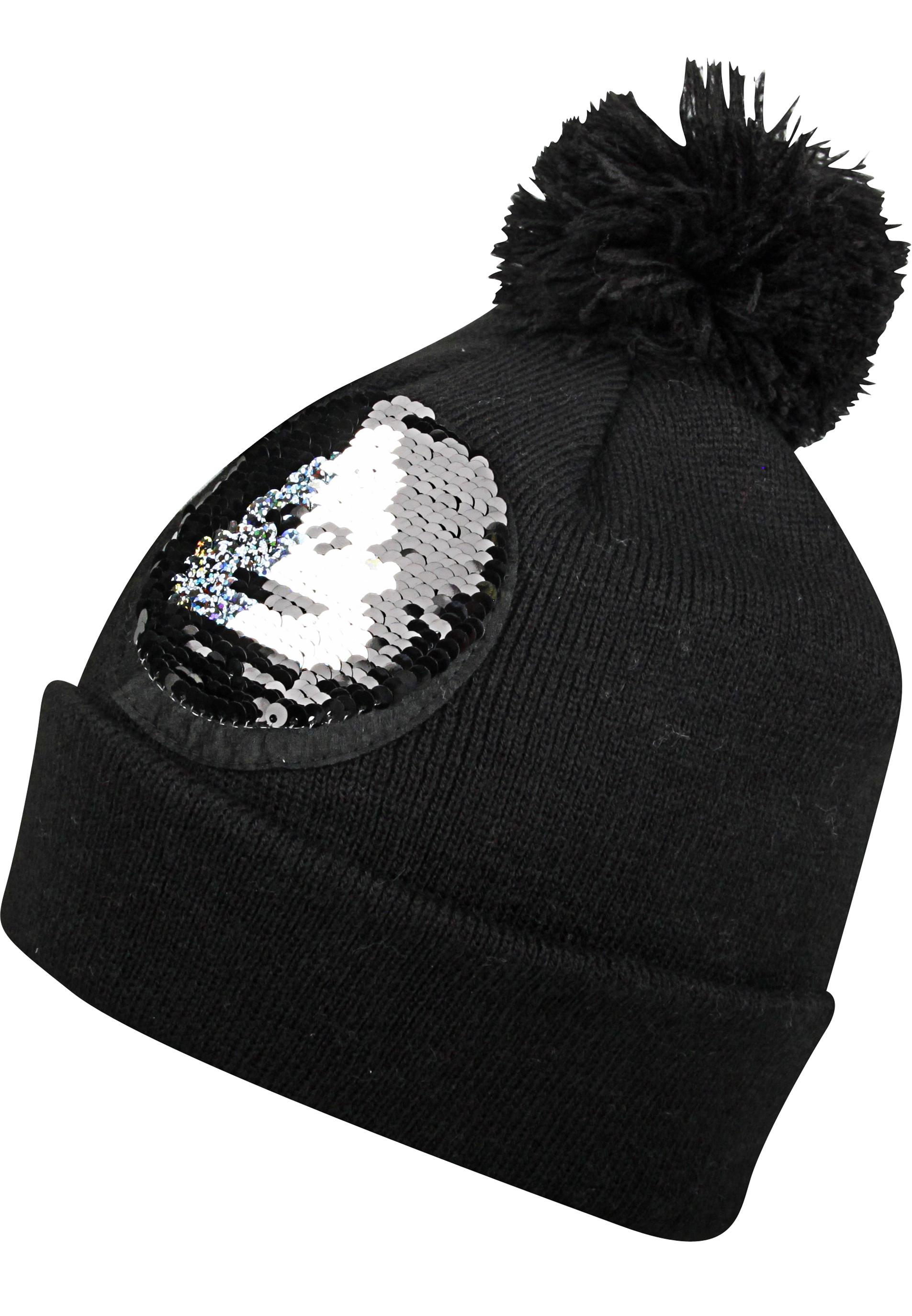 Mütze mit Wendepailletten und Bommel