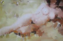 "MODERN ABSTRACT RECLINING NUDE 24X36"" OIL PAINTING  001"
