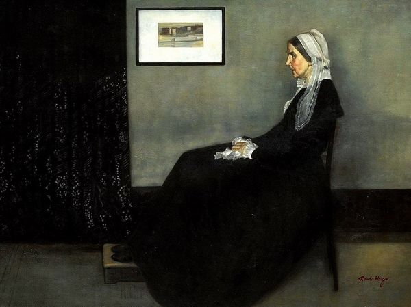 "JAMES WHISTLER PORTRAIT OF HIS MOTHER 32X44"" OIL PAINTING – image 1"