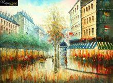 """PARIS RUE DE MENILMONTANT AT TWILIGHT 36X48"""" OIL PAINTING 001"""