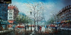 PARIS SIGHTSEEING 24x48' ORIGINAL OIL PAINTING FRENCH – image 2