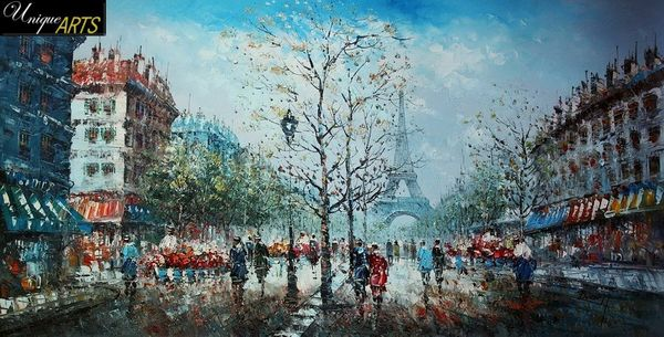 PARIS SIGHTSEEING 24x48' ORIGINAL OIL PAINTING FRENCH – image 1