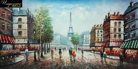 PARIS EIFFEL TOWER IN THE YEAR 1920 24x48' OIL PAINTING – image 2