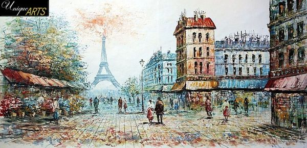 PARIS EIFFEL TOWER IN THE YEAR 1907 24x48' OIL PAINTING