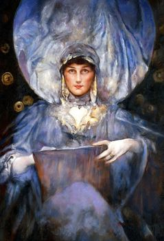 "JAMES JEBUSA SHANNON - LADY VIOLET 24X36"" OIL PAINTING – image 1"